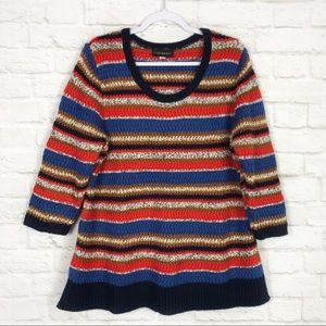 Lane Bryant Chunky Knit Striped Scoop Neck Sweater